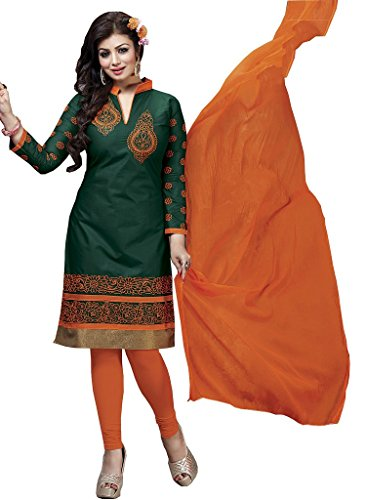 M-Fab-Ethnic-Embroidered-Orange-and-Racing-Green-Pc-Cotton-Free-Size-Straight-Chudidar-Salvar-Suit-Dress-Material