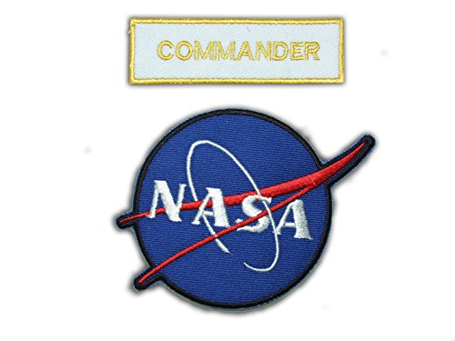 nasa-space-shuttle-commander-astronauta-traje-patch-set-2-bordado-hierro-en-insignias