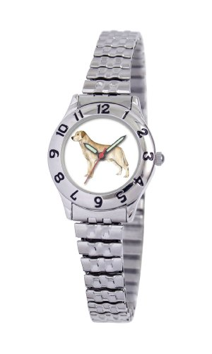 American Kennel Club Women's D1639S244 Yellow Labrador Retriever Silver-Tone Expansion Band Watch
