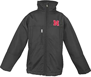 Nebraska Cornhuskers NCAA Bonded Woven Premium Full Zip Black Jacket by Genuine Stuff