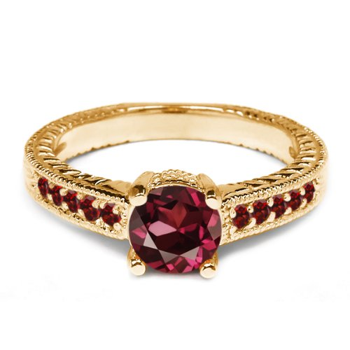 0.32 Ct Round Red Rhodolite Garnet Garnet 925 Yellow Gold Plated Silver Ring