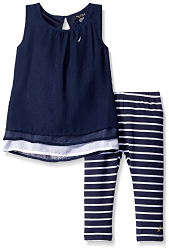 Nautica Toddler Layered Chiffon Top with Stripe Legging, Navy, 4T