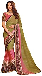 Ambica Lavnya Women's Chiffon And Marble Saree (Ambica Martina 3235_1, Pink Colour )