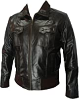 Mens real leather brown bomber jacket #D8