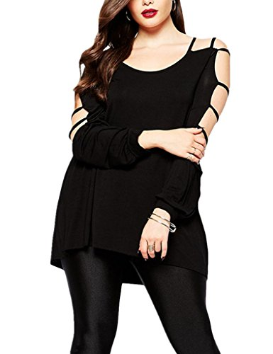 Dokotoo Womens Plus Size Overlay Hammock Cut out Swing Arm Blouse Tops XX-Large Black (Black Plus Size Tops compare prices)