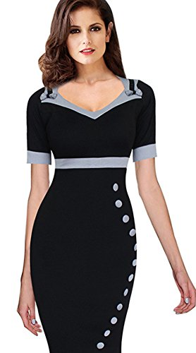 Merope J Women's V Neck Cap Sleeve Colorblock Slim Business Dress (L, Black)