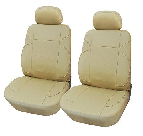 Vinyl 2 Front Car Seat Covers Lexus #853 Tan front-436918