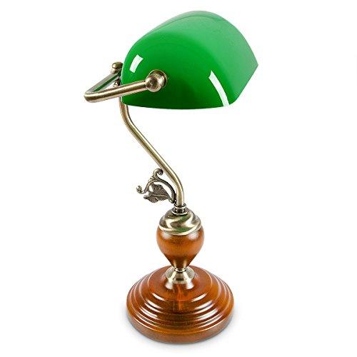 Bankerlampe Holzfuß grün Klassiker Schreibtischlampe - Retro Tischlampe Banker Lampe Messing-Optik & geschwungenen Verzierungen der 30er Jahre - Holz Gals Metall - 26,5 x 43 x 18 cm - E27