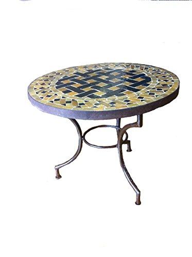 "24"" Moroccan Mosaic Table, - Basketweave Design, Black & Honey"