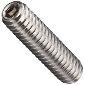 18-8 Stainless Steel Set Screw, Plain Finish, Vented, Hex Socket Drive, Cup Point, Right Hand Threads, Inch