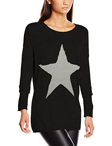 ONLY Onlreese L/S Pullover Knt, Felpa Donna, Grau (Dark Grey Melange Detail:W. Lgm Star/Silver Studs), 42