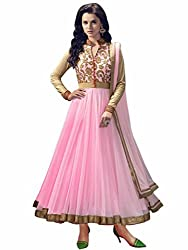 Baby pink and golden anarkali dress material