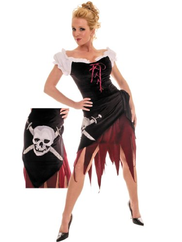 Womens Sexy Simple Pirate Costume Wench Theatre Costumes Pirate Skull 2 Pc