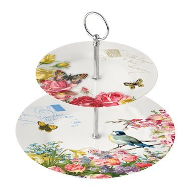Paperproducts Design 2-Tier Dessert/Tea Server, Vintage Bird