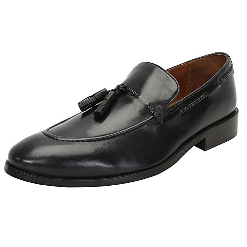 BRUNE Black Color 100% Genuine Leather Tassel Loafers Shoes With Side Lacing For Men Available ...