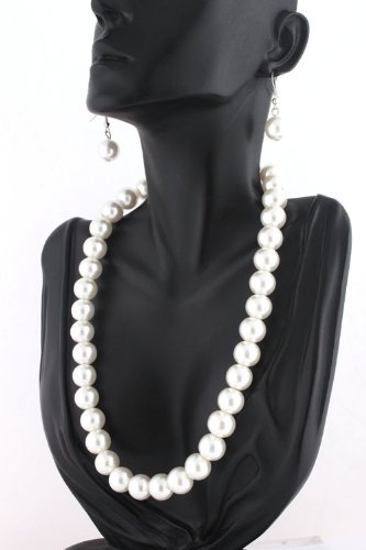 Ladies White Pearl Beaded 20 Inch Adjustable Chain Necklace & Matching Dangle Earrings Jewelry Set