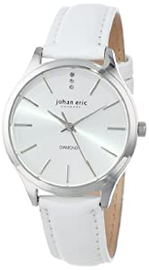 Johan Eric Womens JE2200-04-001 Herlev White Leather Watch with Diamond Accents