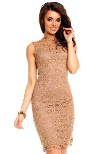 Unbekannt Damen Cocktailkleid Abendkleid Etuikleid aus Spitze Deluxe Look braun S
