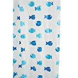 Croydex Shower Curtain Frosted Wiggly Fish