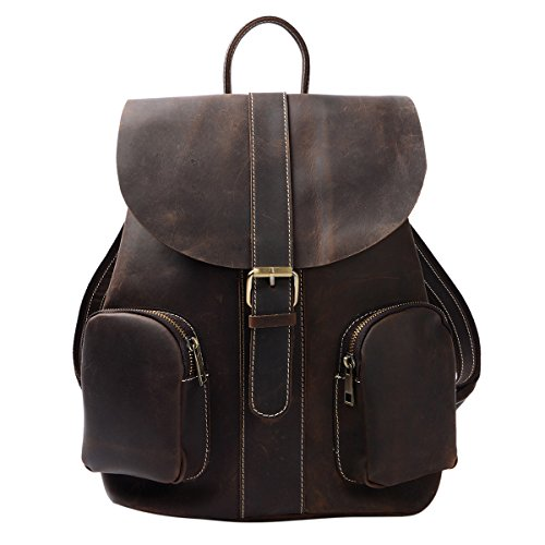 S-ZONE Retro Genuine Leather Backpack with Multi Pocket For Womens