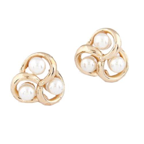 New Gold Luxury Pearl Weave Triangle Ear Stud Earrings Unique Fashion Jewelry,101152