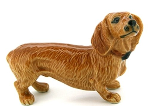 3 D Ceramic Toy Brown Dachshund Dog size M1 Dollhouse Miniatures Free Ship - 1