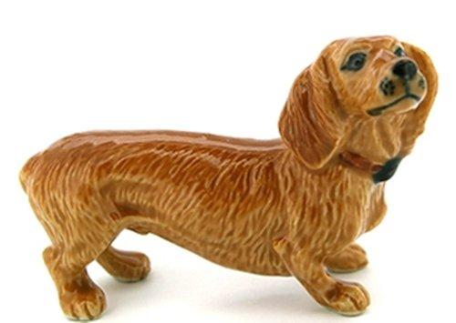3 D Ceramic Toy Brown Dachshund Dog size M1 Dollhouse Miniatures Free Ship - 1