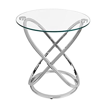 Tempered Glass Round End Table