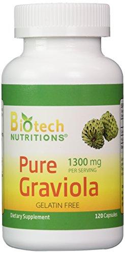 Biotech Nutritions 100% Pure Graviola 1300mg Per Servings 120 Capsules Per Bottle (Annona muricata) (Graviola Fruit compare prices)