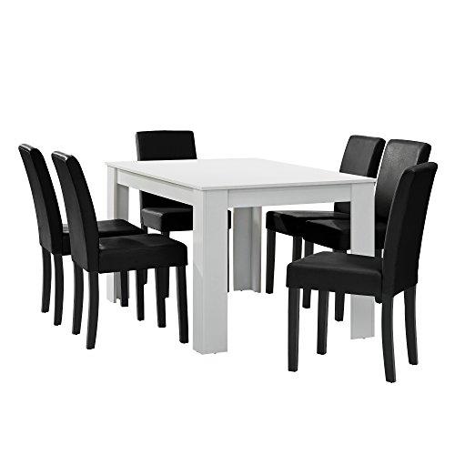 encasa-Esstisch-wei-matt-mit-6-Sthlen-schwarz-Kunstleder-gepolstert-140x90-Essgruppe-Esszimmer