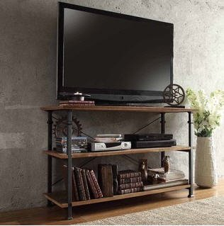 TRIBECCA HOME Myra Vintage Industrial Brown Wood - Iron TV Stand with 2 Shelves for DVD Players and Books (Iron Tv Stand compare prices)
