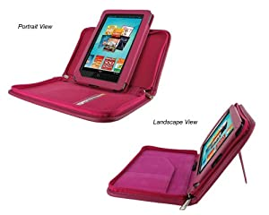 rooCASE Executive Leather Portfolio (Magenta) Case Cover with Landscape / Portrait View for Barnes and Noble NOOK Tablet / NOOKcolor Nook Color eBook Reader (NOT Compatible with NOOK HD)