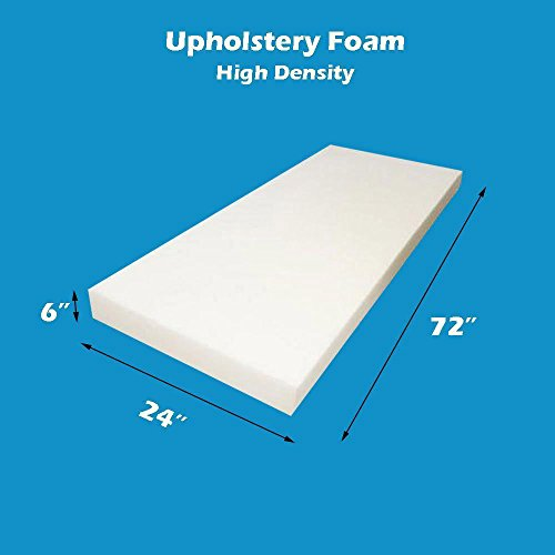 "Review High Density Firm 6"" x 24"" x 72"" (Seat Replacement , Upholstery Sheet , Foam P..."
