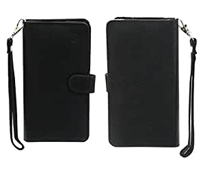 Jo Jo A9 Anya Leather Carry Case Cover Pouch Wallet Case For Karbonn Smart A12 Star Black