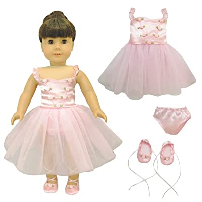Doll Clothes - Ballet Ballerina Dance Dress Clothes Fits American Girl Dolls, Madame Alexander and other 18 inches Dolls from Pink Butterfly Closet