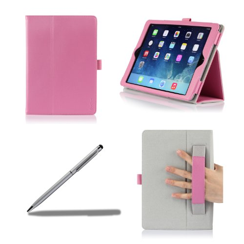 ProCase Apple iPad Air Case with bonus stylus pen - Flip Stand Leather Folio Cover for Apple iPad Air, iPad 5, iPad 5th generation, auto Sleep/Wake built-in Stand (Pink)