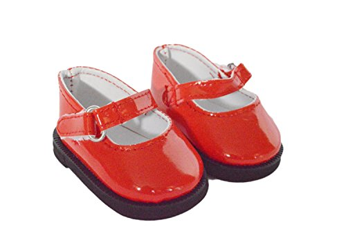 RED PATENT MARY JANES WITH MODERN STRAP FOR AMERICAN GIRL DOLLS-18 INCH DOLL CLOTHES- BITTY TWINS - 1