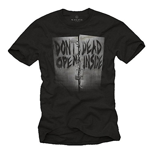 MAGLIETTA DONŽT OPEN - T-shirt Walking Dead nera uomo horror storry L