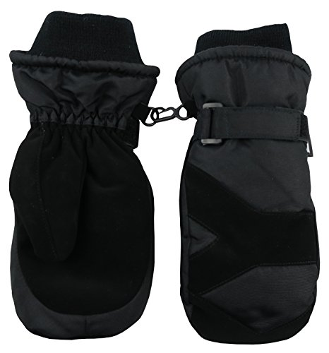 N'Ice Caps Kids and Baby Thinsulate Waterproof Colorblock Ski Snow Mittens (2-3yrs, Black/Black)