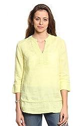 Women Yellow Linen Lace Top