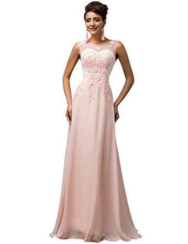 Women V-Back Long Prom Dresses Pink Size 2 TS7555-1