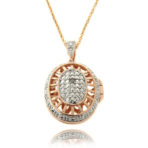 Fusion Rose Gold Overlay Diamond Accent Oval Filigree Locket