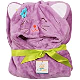 Ole Baby Kitty With Flower Soft And Fluffy Hooded Mink Blanket Assorted Color And Character