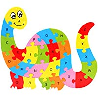 Zerowin Wooden Toys Cute Animals Shaped Alphabet Puzzle Educational Learn Letters Numbers Jigsaw Gifts,Dinosaur