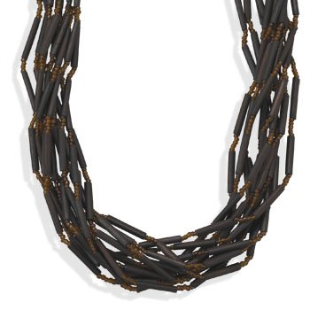 17 + 3 Inch Multi-strand Bamboo Bead Fashion Necklace