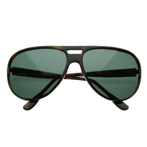 zeroUV - X-Large Classic Retro Plastic Teardrop Aviator Sunglasses w/ Green Lens (Tortoise Shell)