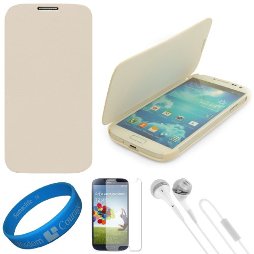 Vg Premium Faux Leather Flip Carrying Case W/ Sleeve Mode Function (White) For Samsung Galaxy S4 / S Iv Android Smart Phones + Clear Anti Glare Screen Protector Strip W/ Cleaning Cloth + White Vg Stereo Headphones With Windscreen Mic & Silicone Ear Tips +