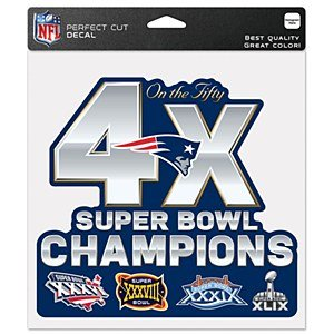 New England Patriots 4 Times Super Bowl Champion Perfect Cut Full Color 8x8 Decal (Patriot Superbowl Champions compare prices)