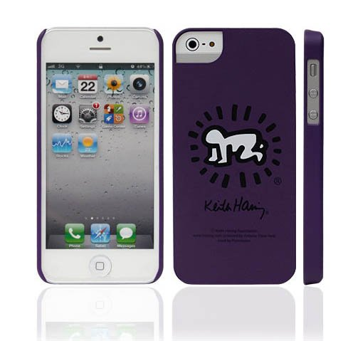 Icover, Iphone5 Case, Apple Iphone 5 / 5S, Include Screen Protector, Mobile Premium Hard Slim Case Good Grip Perfect Fit Matt (At&T, Verizon, Sprint, T-Mobile) - Retail Package Cellphone Cover (Purple(Keith Haring))
