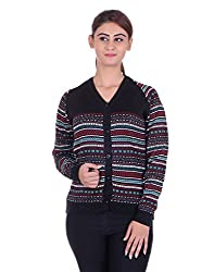 eWools Women's Black::Multicolor Wool Sweater (735-eWools-Medium)